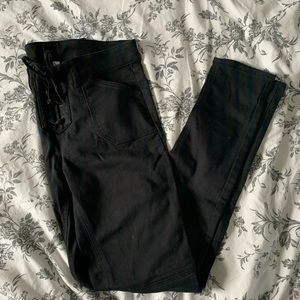 Black Jeggings with Tie Front